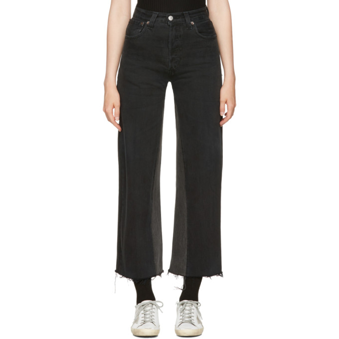 Re/Done Black High-Rise Wide-Leg Crop Jeans