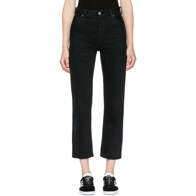 Re/Done Black Levi's Edition Destruction High-Rise Crop Straight Jeans