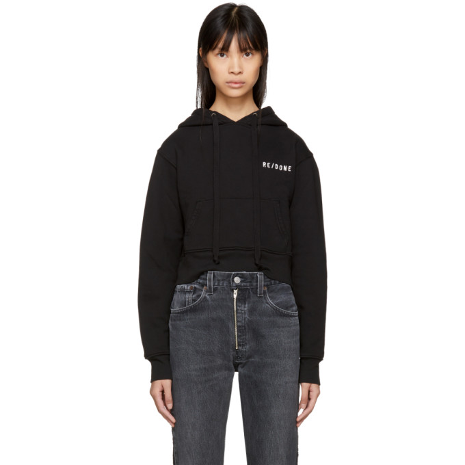 Image of Re/Done Black Originals Hard Crop Hoodie