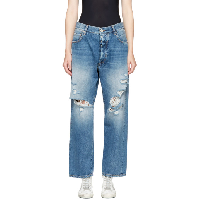 Image of Unravel Indigo Distressed Baggy Boy Jeans