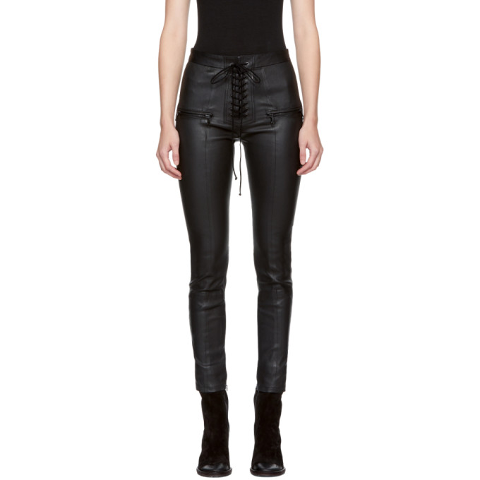 Image of Unravel Black Lace-Up Leather Pants