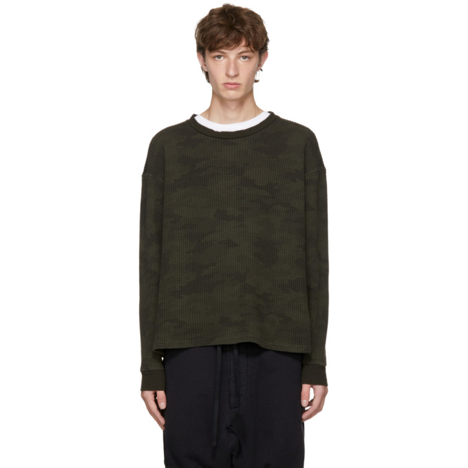 Unravel Green Long Sleeve Camo Waffle Skate T-Shirt