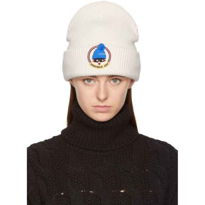 Image of Moncler Grenoble White Grenoble Face Beanie