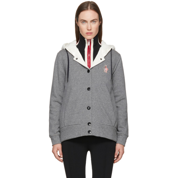 Image of Moncler Grenoble Grey & White Hooded Button Down Jacket