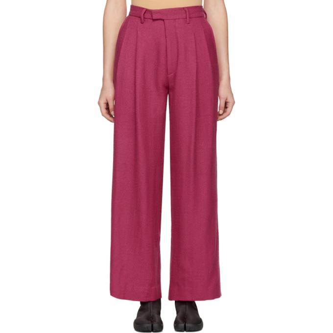 Eckhaus Latta Pink Pleated Wool Trousers