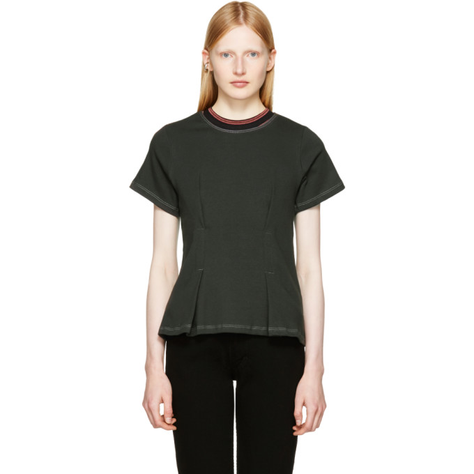 Eckhaus Latta Black Topstitched T-Shirt