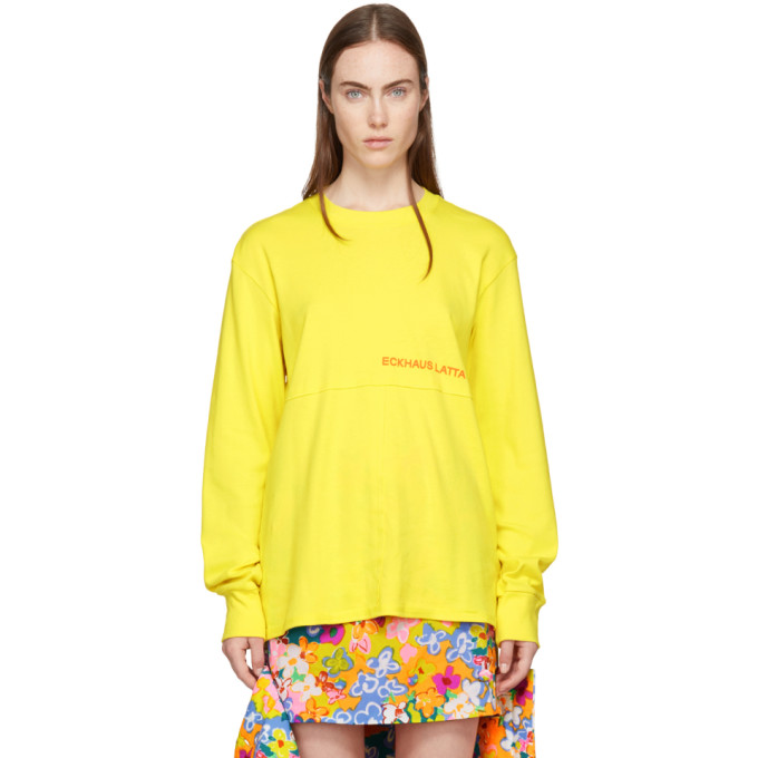 Eckhaus Latta SSENSE Exclusive Yellow Long Sleeve Lapped T-Shirt