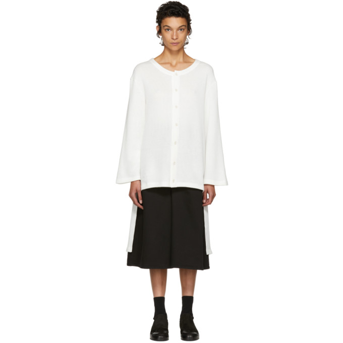 Image of Nocturne #22 Off-White Fleece Long Cardigan