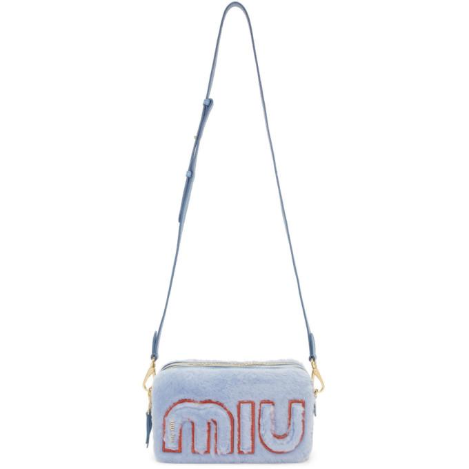 Miu Miu Blue Shearling Chain Camera Bag