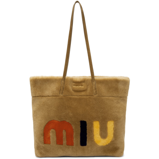 Miu Miu Tan Shearling Logo Tote