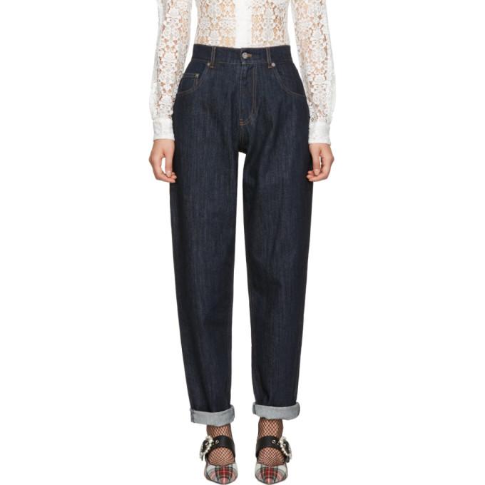 Miu Miu Navy Denim Patch Jeans
