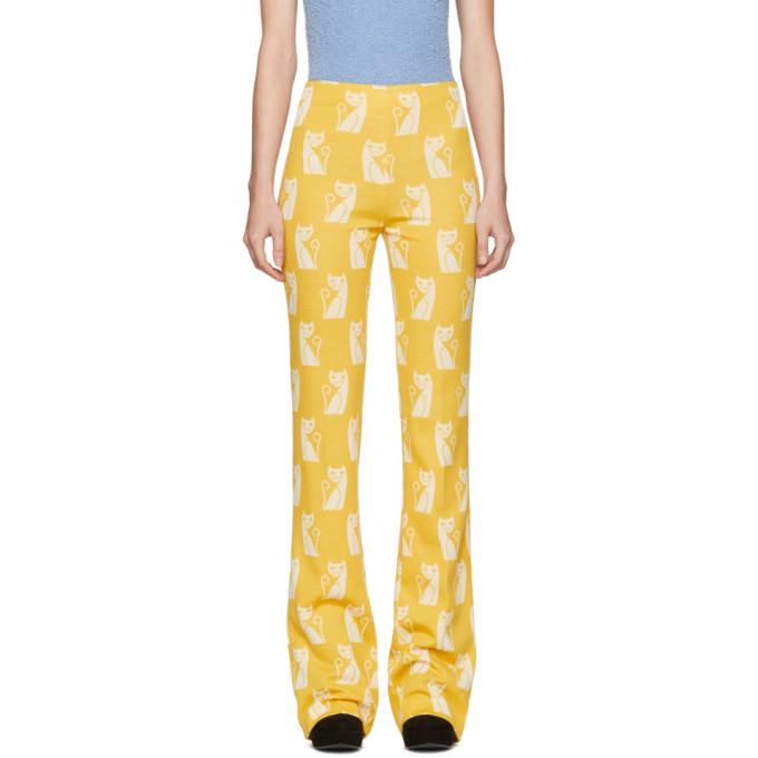 Miu Miu Yellow Intarsia Cat Trousers