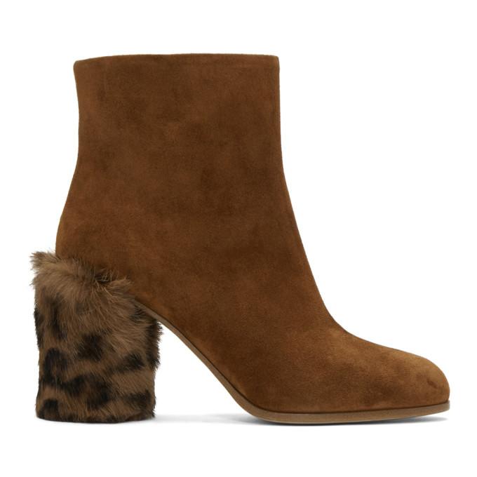 miu miu female miu miu tan leopard fur heel boots