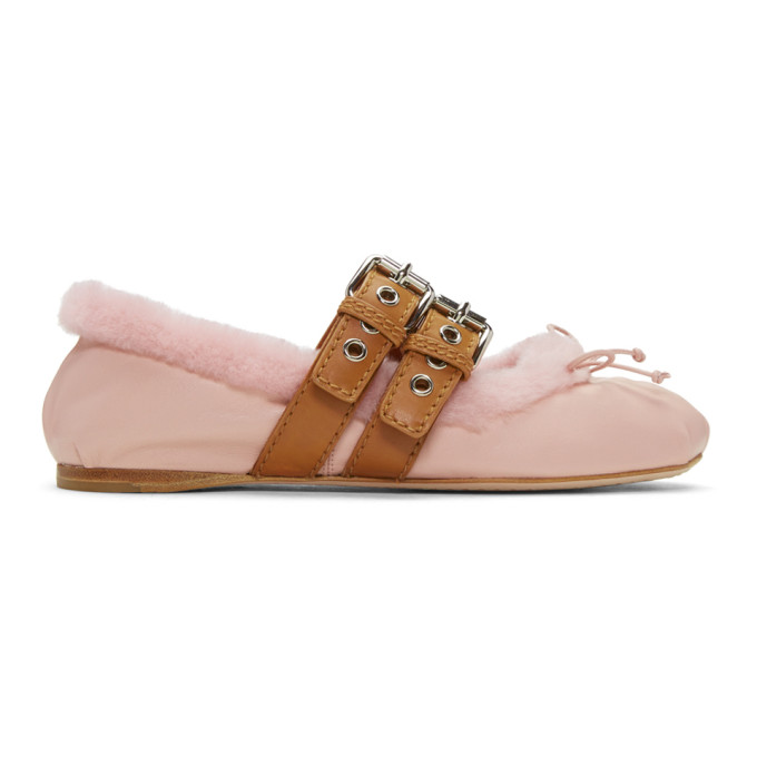 miu miu female miu miu pink shearling double buckle ballerina flats