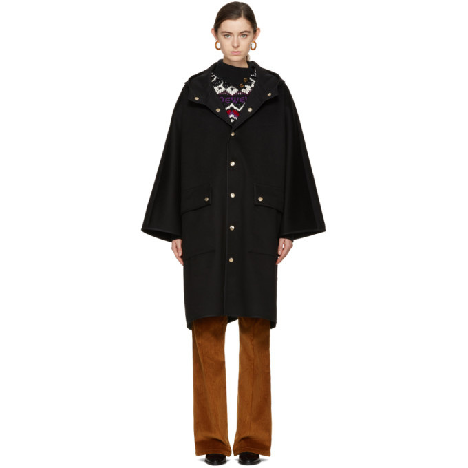 Image of Mackintosh Black Wool Cape Coat