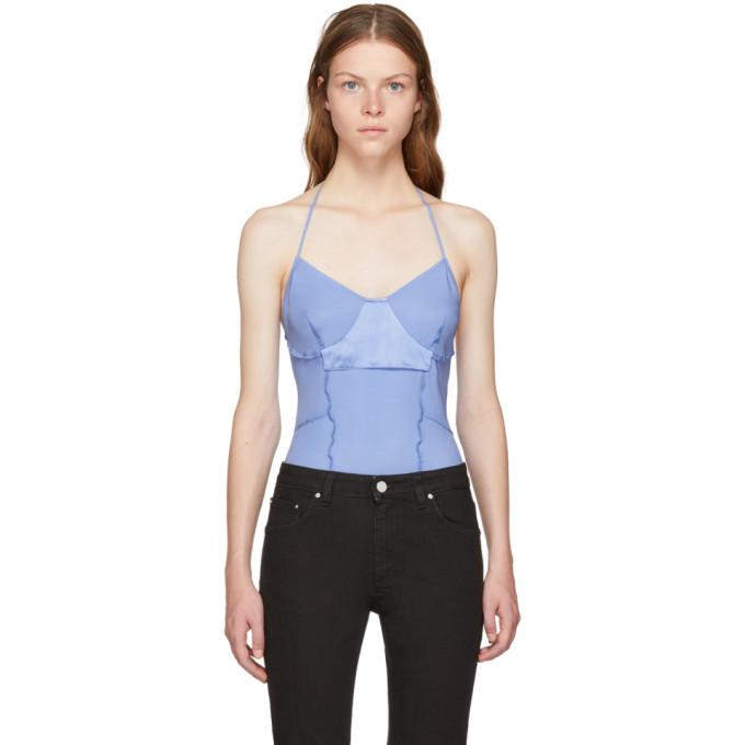 Image of Wendelborn Blue Silk Inside Out Bodysuit