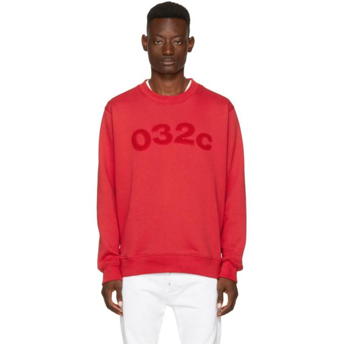 032c 032c red believer logo sweatshirt
