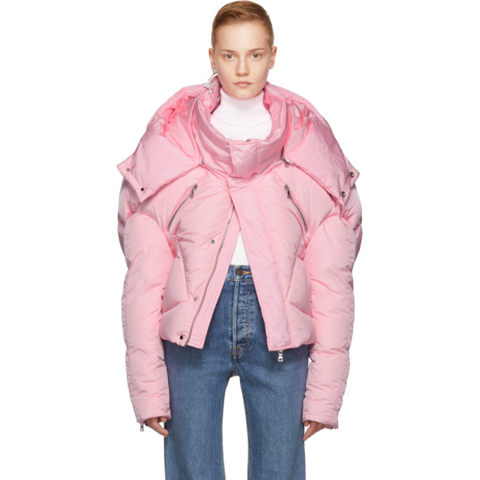 Image of Chen Peng Pink Short Quilted Puffer Jacket