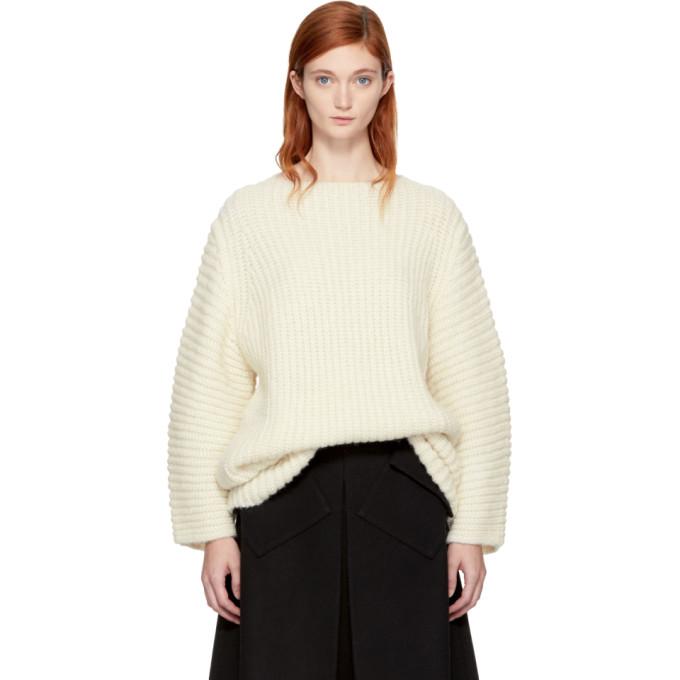 Image of Lauren Manoogian SSENSE Exclusive White Fisherman Tunic Sweater