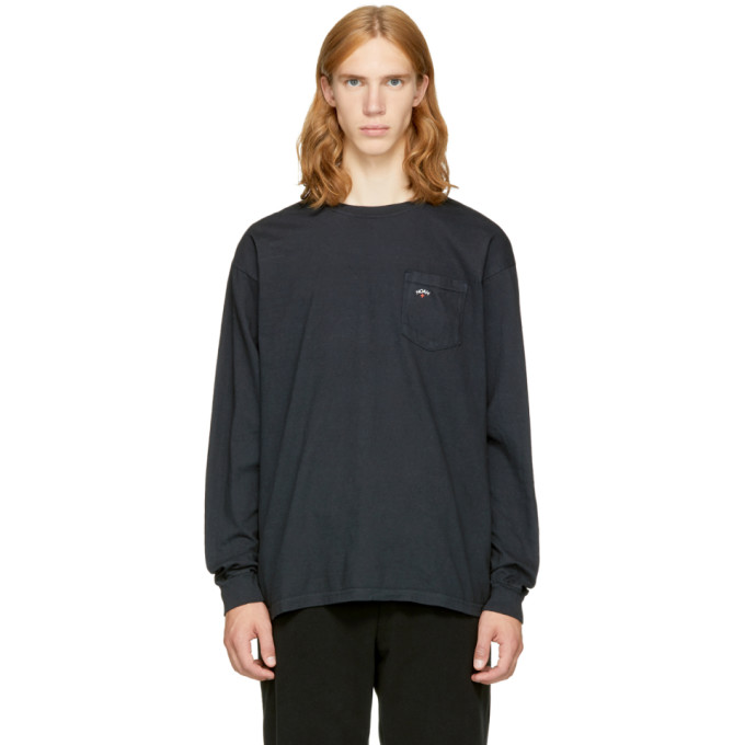 Image of Noah NYC Black Long Sleeve Pocket Logo T-Shirt
