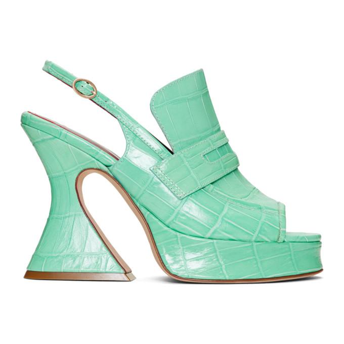 Image of Sies Marjan Green Croc Ellie Loafer Heels