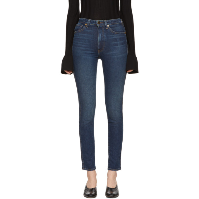 Khaite Blue Vanessa High-Rise Straight Jeans
