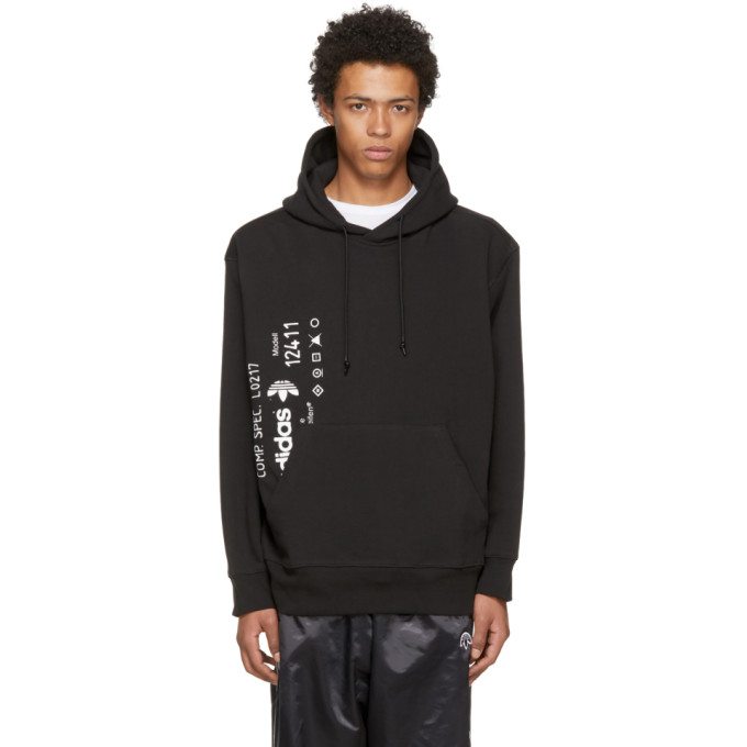 Image of adidas Originals by Alexander Wang Black AW Graphic Hoodie