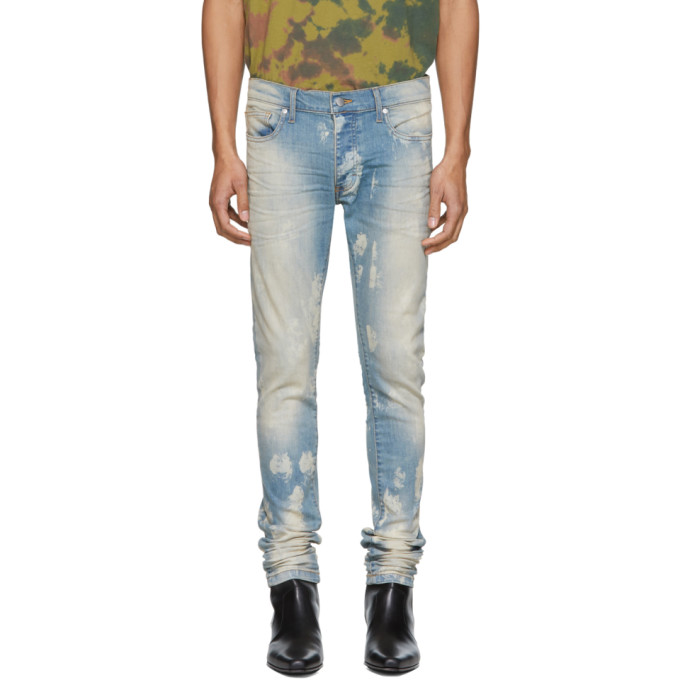 Image of Rhude Blue Crystal Psycho Jeans