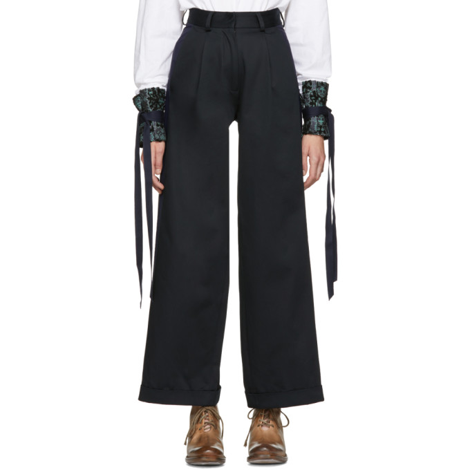 Image of Ovelia Transtoto Black & Navy Cooper Chino Trousers