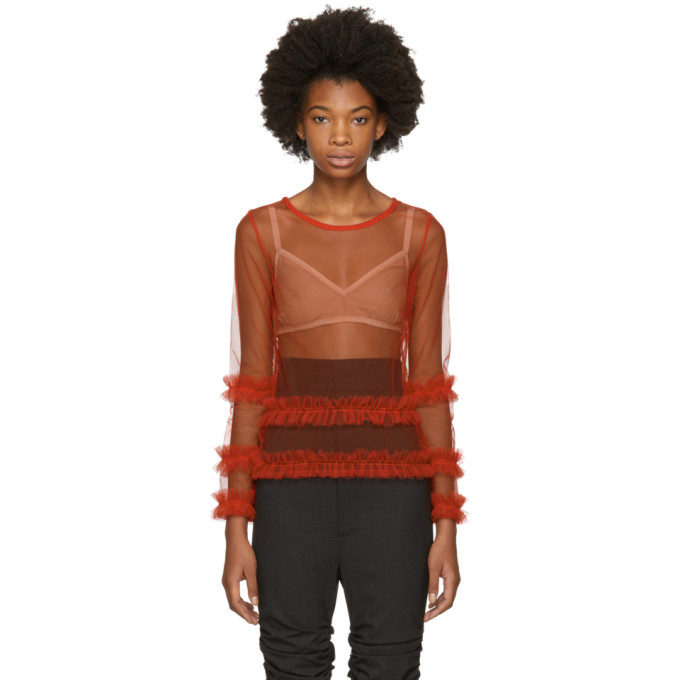 Image of Molly Goddard Red Ed Blouse