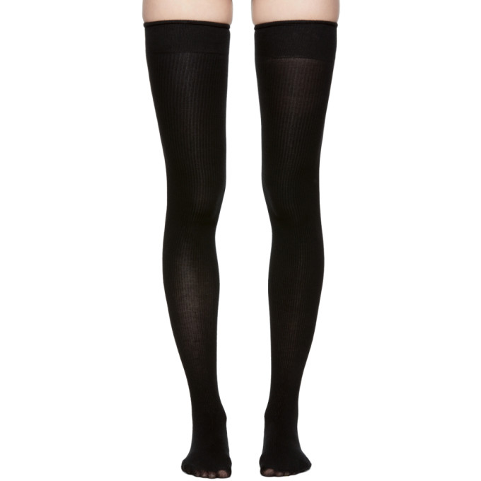 Image of Marieyat Black Doodle Thigh-High Socks