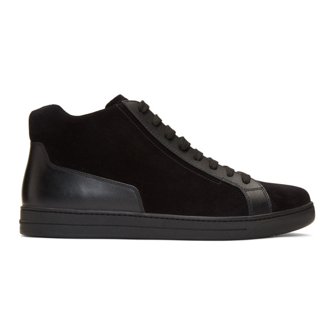 PRADA BLACK SUEDE AND LEATHER HIGH-TOP SNEAKERS