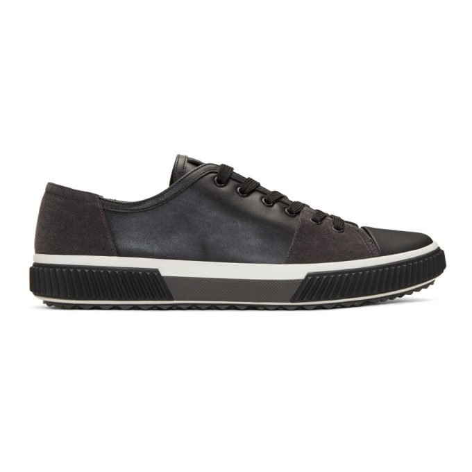 Prada Black Leather & Suede Sneakers