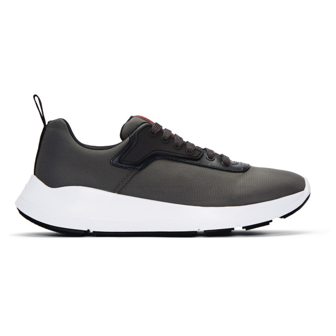 Prada Grey Nylon Tech Sneakers