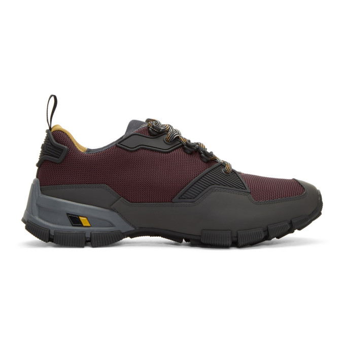 Prada Burgundy & Grey Technical Sneakers