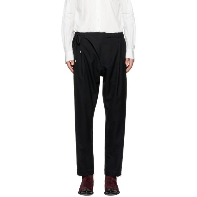 Image of TAKAHIROMIYASHITA TheSoloist. Black Crossover Pajama Trousers