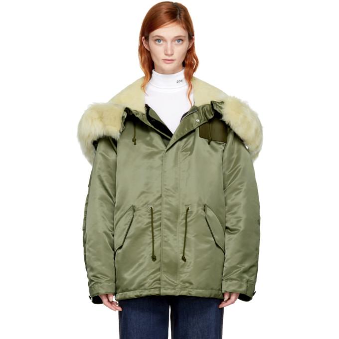 Image of Calvin Klein 205W39NYC Green Nylon Parka