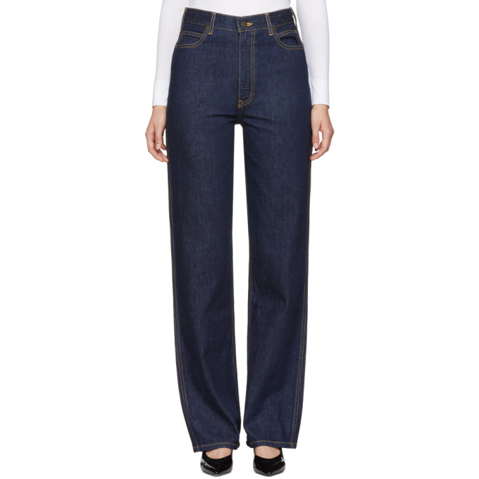 Image of Calvin Klein 205W39NYC Blue High-Rise Straight Jeans