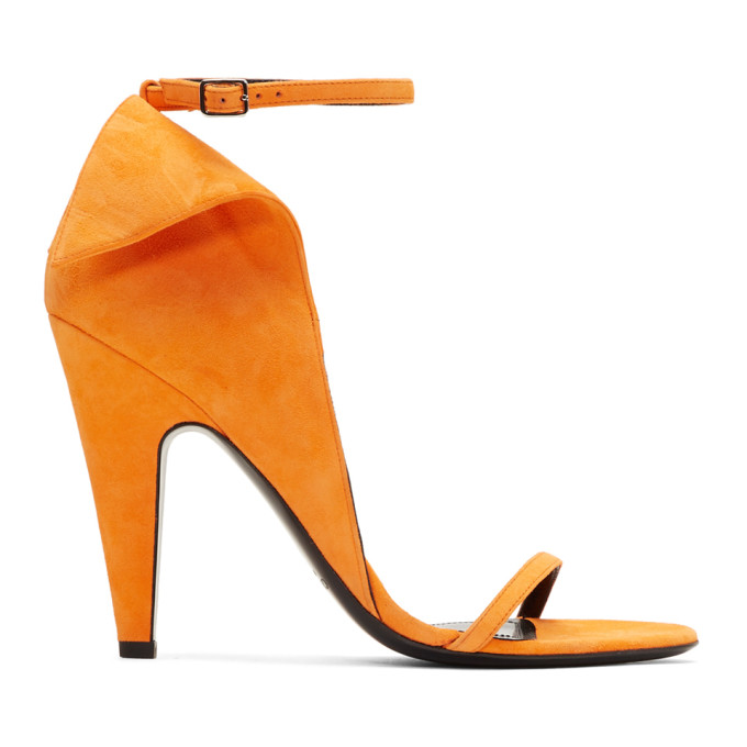 Image of Calvin Klein 205W39NYC Orange Suede Carmin Sandals