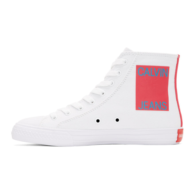 Image of Calvin Klein 205W39NYC White Canvas Canter High-Top Sneakers