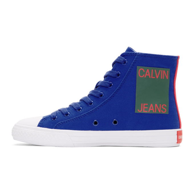 Image of Calvin Klein 205W39NYC Blue Canvas Canter High-Top Sneakers