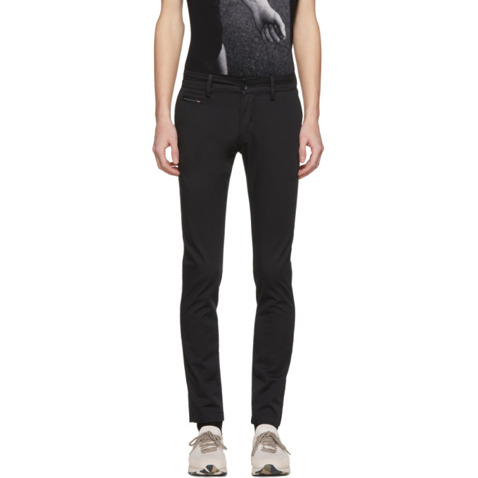 Image of Diesel Black Chi-Shaped Chino Trousers
