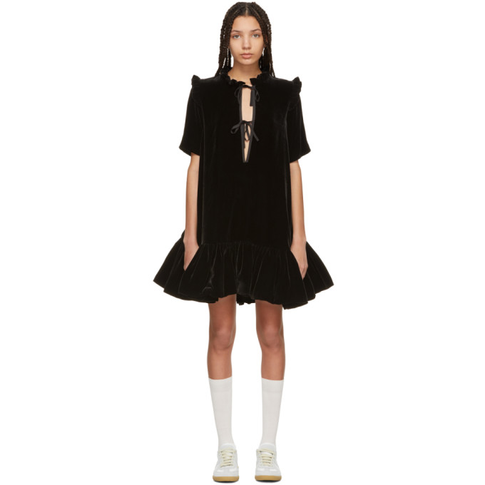 Image of Cecilie Bahnsen SSENSE Exclusive Black Velvet Natalia Dress