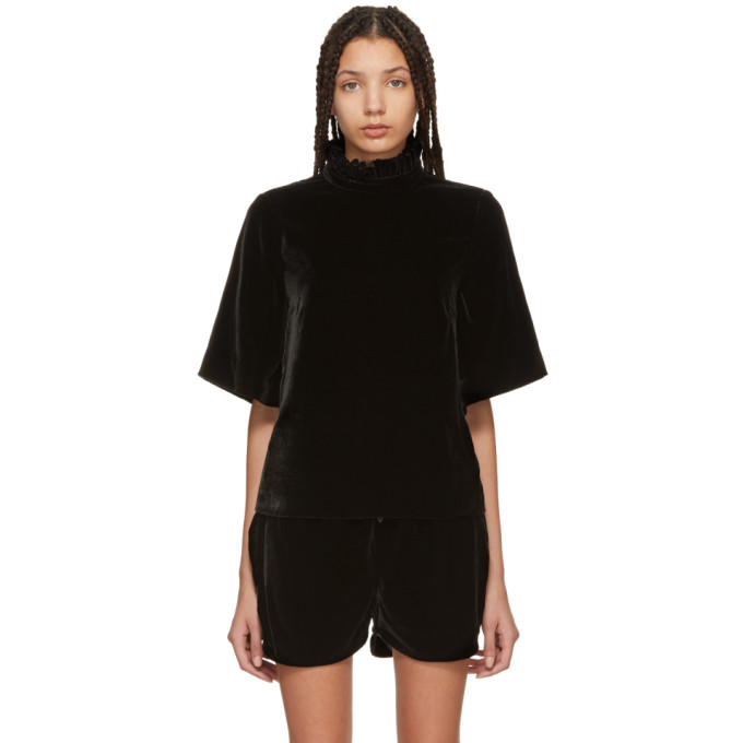 Image of Cecilie Bahnsen SSENSE Exclusive Black Velvet Cara Blouse