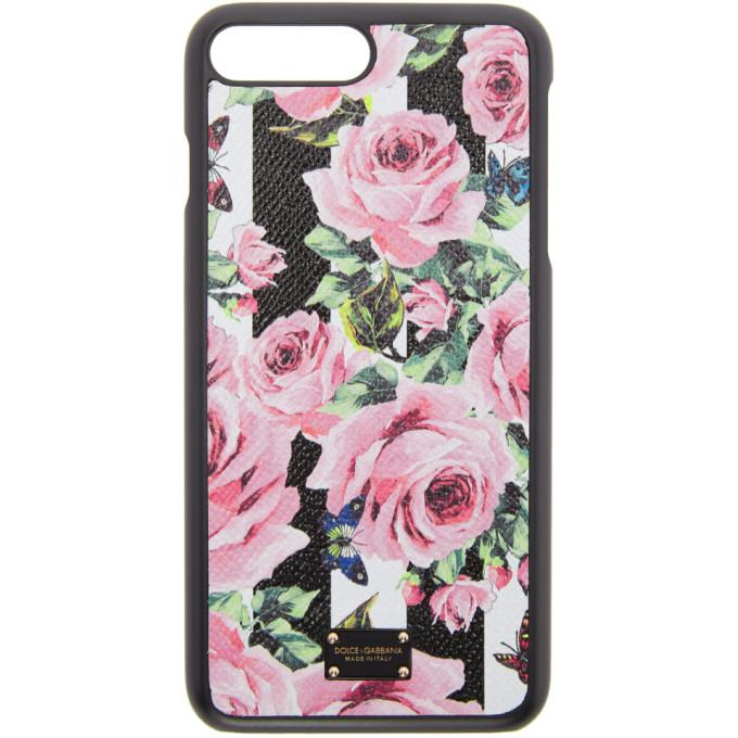 Dolce & Gabbana ブラック ストライプ & フラワー iPhone 7 Plus ケース