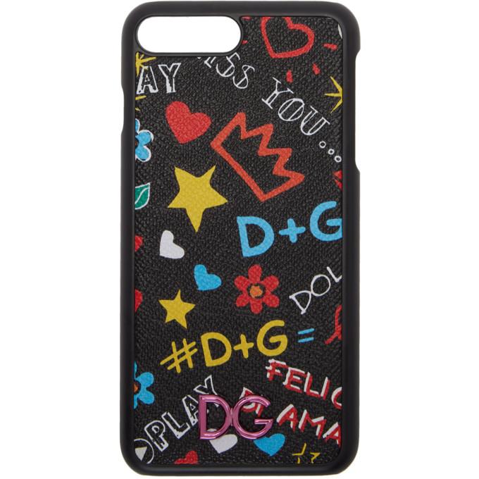 Dolce & Gabbana ブラック グラフィティ iPhone 8 Plus ケース