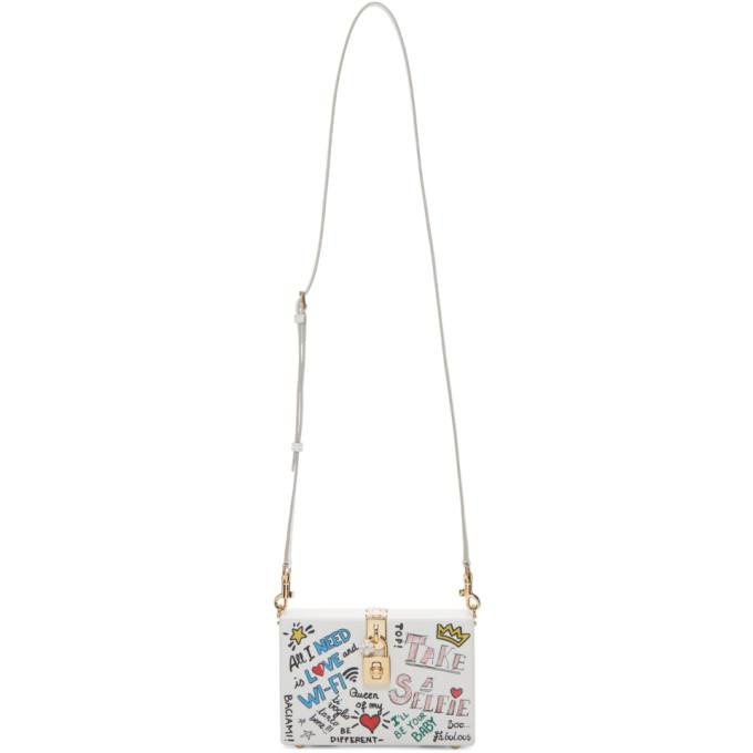 Dolce & Gabbana White Graffiti Wood Box Bag