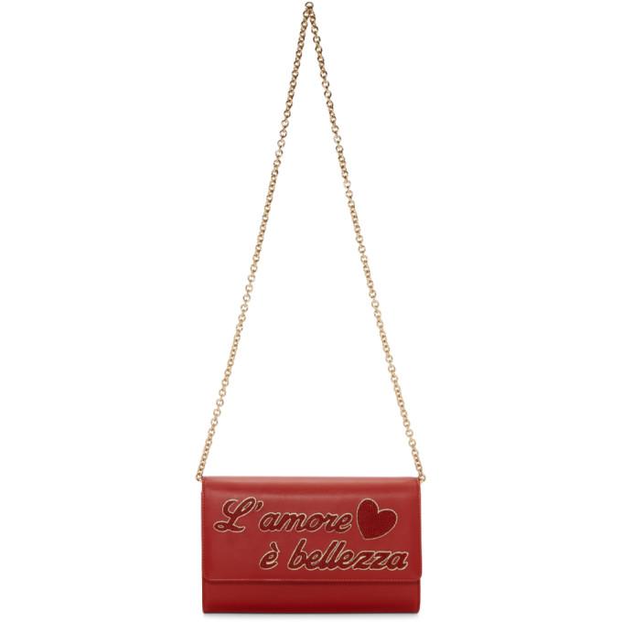 Dolce & Gabbana Red 'L'Amore e Belezza' Chain Bag