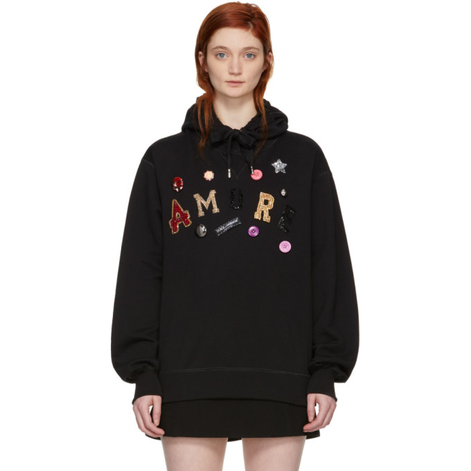 Image of Dolce & Gabbana Black 'Amore' Sequin & Jewel Hoodie