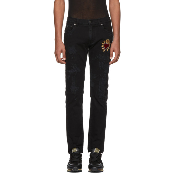 Dolce & Gabbana Black Skinny Distressed Jeans